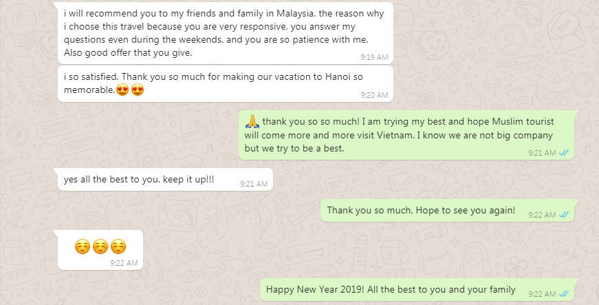 Feedback good service for Viet Flame Tours